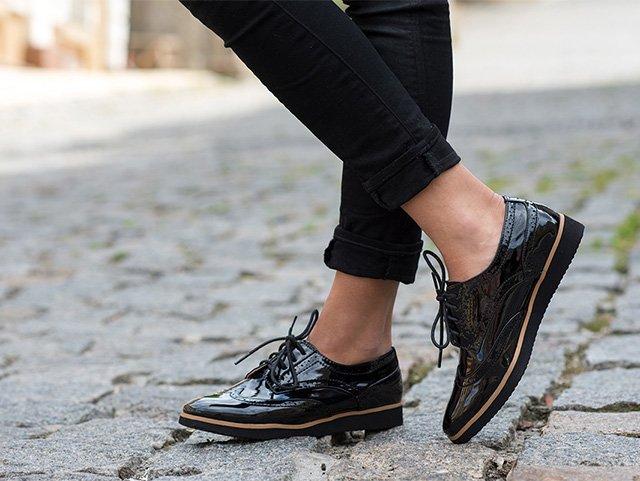 черные лаковые ботинки для женщин