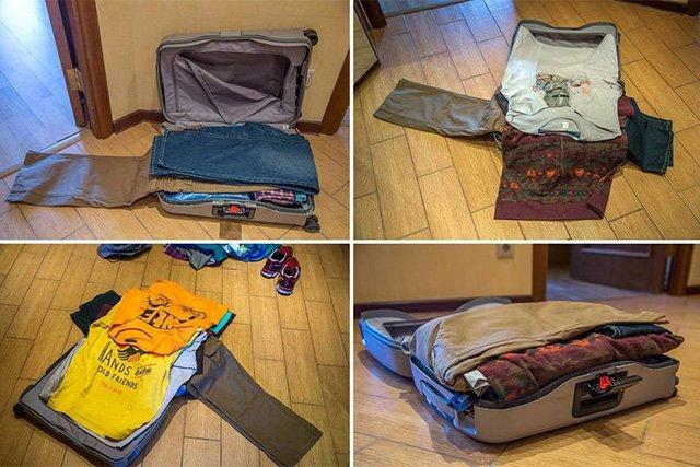 складывание брюк в чемодан