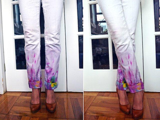 белые джинсы после покраски