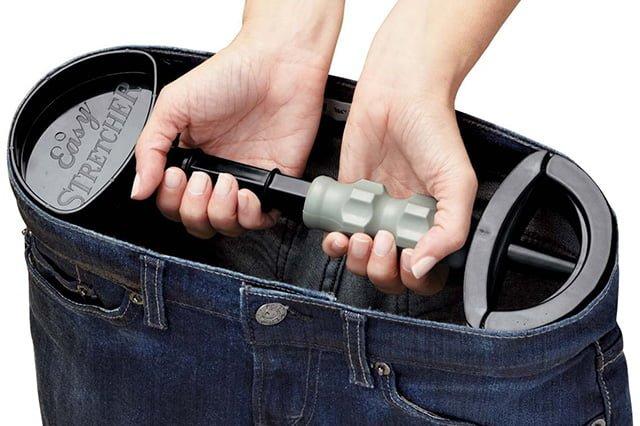 метод растягивания пояса у джинсов