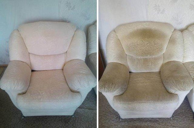 кресло до и после чистки