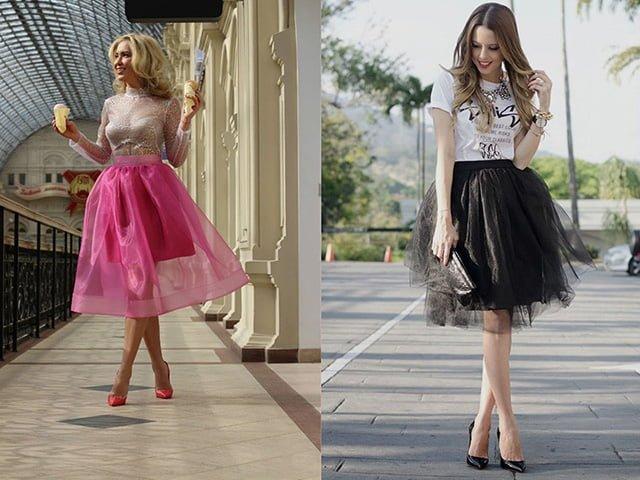 модели в юбках из органзы