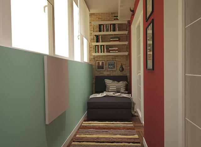 полки для книг на балконе