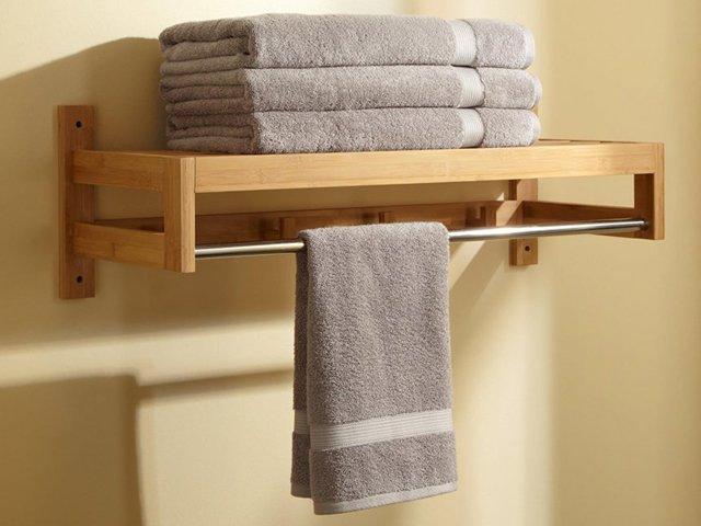 полка для хранения полотенец в ванной