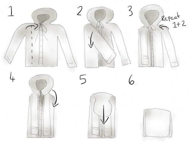 Как сложить футболку с капюшоном